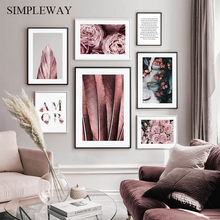 Affiche florale de Style nordique rose avec fleur de plume, peinture sur toile, Art mural moderne, pour décoration de salon