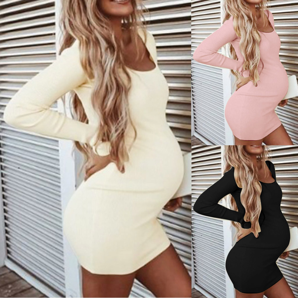 Womens Maternity Dress Long Sleeve Solid Pregnant Dress Autumn Baby Shower Maternity Dresses Pregnant Woman Clothes Sukienki