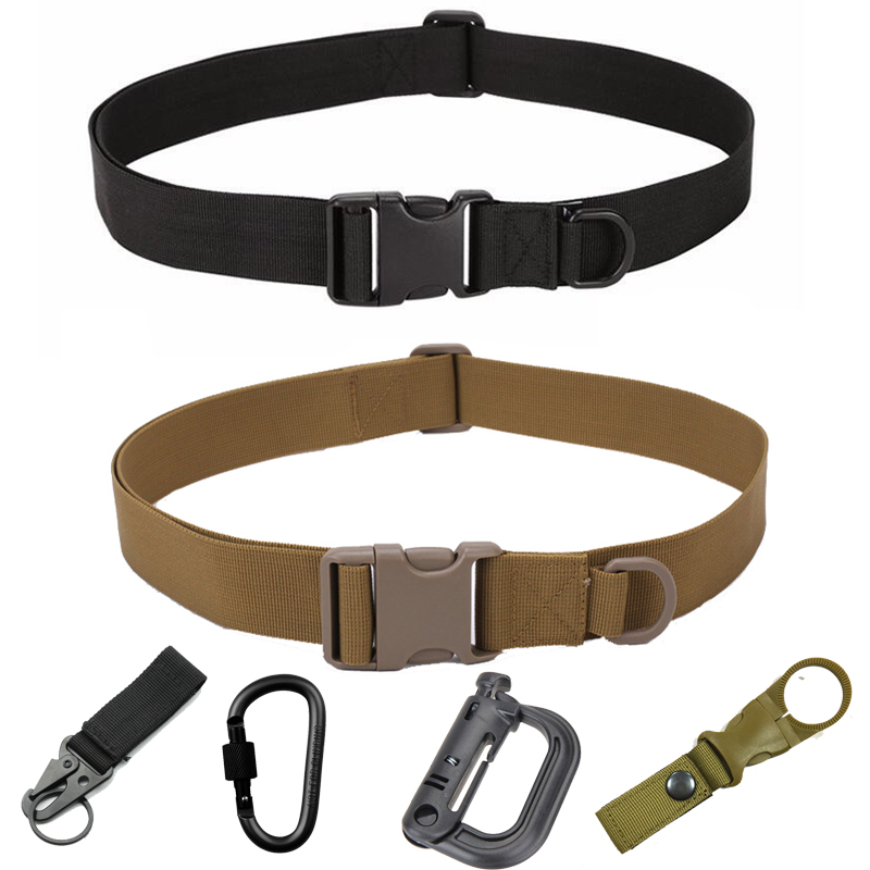 Simple Nylon Belt Men Military Nylon Belt Bag Tactical Army Survival Hunting Climbing D-Ring Key Water Bottle Holder Accessory