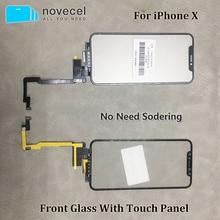 Novecel Черный сенсорный экран с удлинителем сенсорный гибкий кабель нет необходимости пайки для iPhone X Xsmax запасные части
