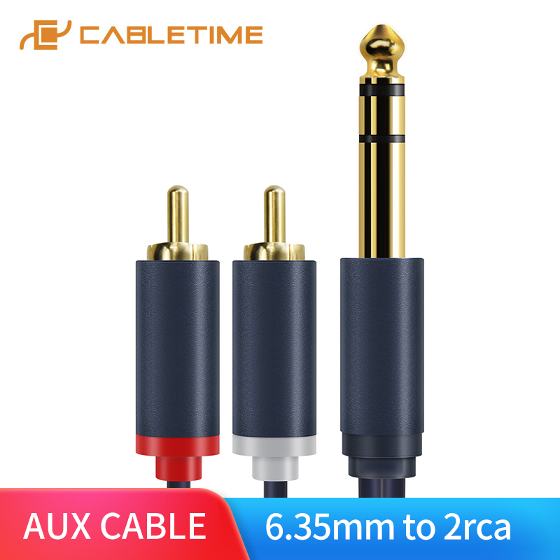 Cabletime 6.35mm To 2RCA Jack Cable Male To Male Stereo Cable Gold Plated AUX Audio Cable For Music Amplifier Line C218