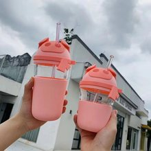 3D Tpu Cartoon Cute Animal Deer/Cow/Pig/Rabbit Couple Cup Summer Style 365ml/510ml Size Buy One Get Transparent Straw Free