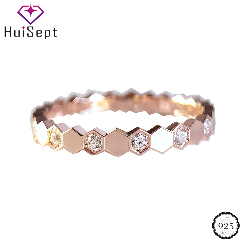 HuiSept Fashion 925 Silver Women Ring Jewelry with AAA Zircon Gemstone Ornaments Rings for Wedding Promise Party Gift Wholesale