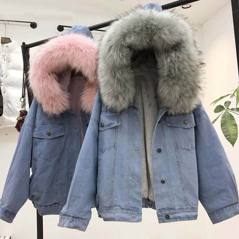Women's Denim Jacket With Fur Winter Jeans Hooded Velvet Coat Female Faux Fur Collar 2020 Padded Warm Jackets Women Dropshipping