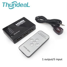 ThundeaL 3 / 5 Input to 1 Out HDMI Switcher 1080P Switch HDMI IR Remote Control for PS3 Xbox HDTV DVD TV Projector(China)