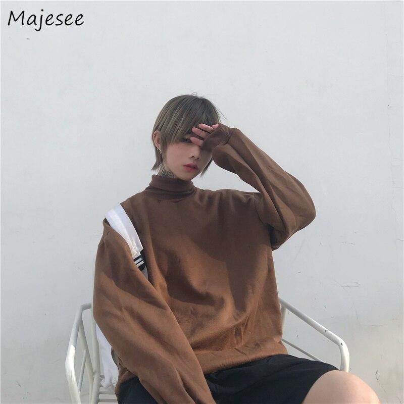 Hoodies Men Plus Velvet Solid Simple All-match Korean Style Turtleneck Leisure Loose Sweatshirts Mens Retro Students Pullovers