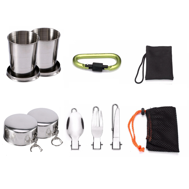 1 Set Outdoor Pots Pans Camping Cookware Picnic Cooking Set Non-stick Tableware  With Foldable Spoon Fork Knife Kettle Cup 4