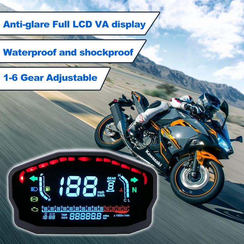 4 2 Motorcycle LCD Digital Speedometer Water Temperature oil Gauge Digital Backlight Odometer For 1,2,4 Cylinders Motor Instrument (1)