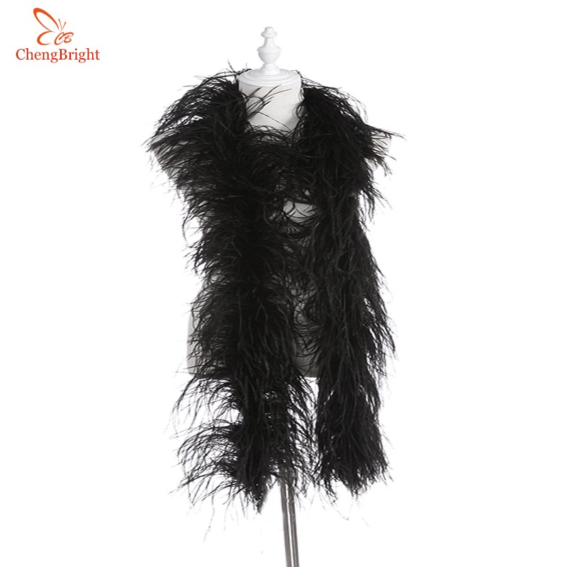 Hot 2 Yards fluffy Black ostrich feather boa skirt Costumes/Trim for Party/Shawl/Craft feather boa in wedding plume decorations