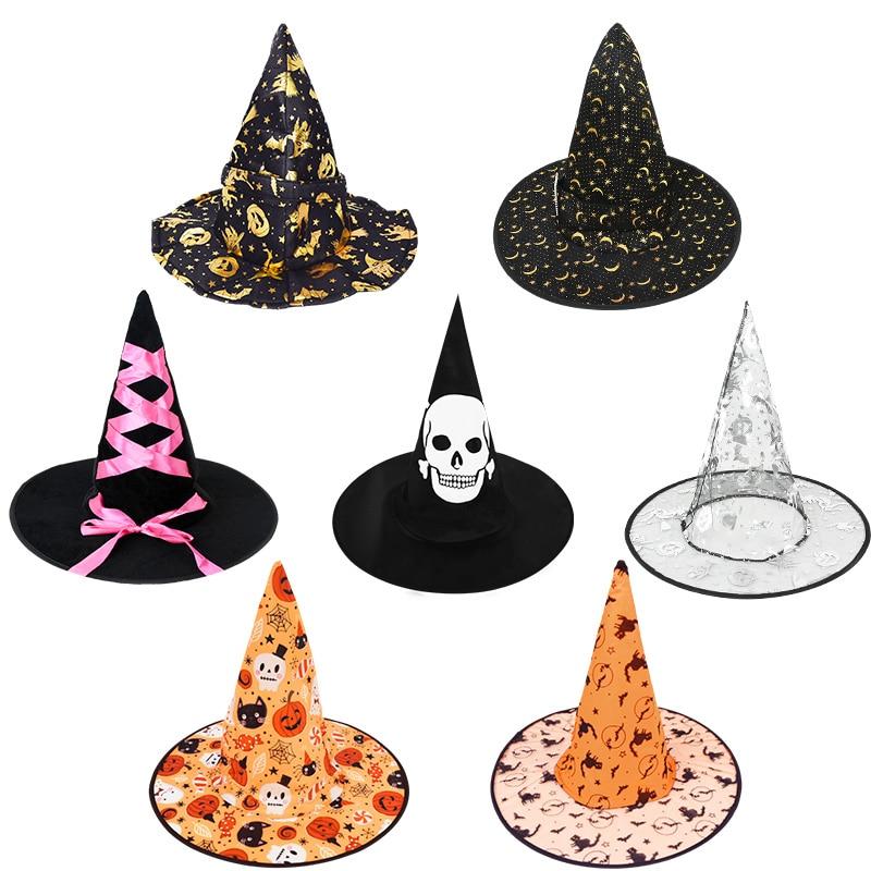 Adult Kids Children Halloween Witch Hats Masquerade Wizard Hat Cosplay Costume Accessories Halloween Party Fancy Dress Decor