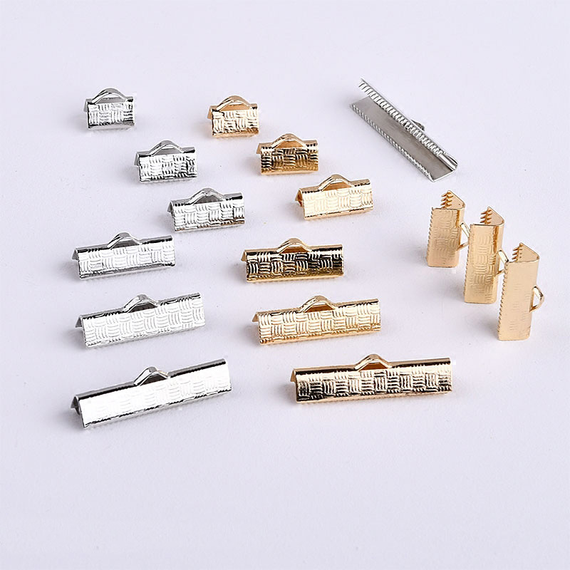 50pcs Flat Leath Cord End Fastener Clasps Connectors Fit 6 8 10 13 16 mm Cord Iron Crimp End Caps Clasps For Diy Jewelry Making