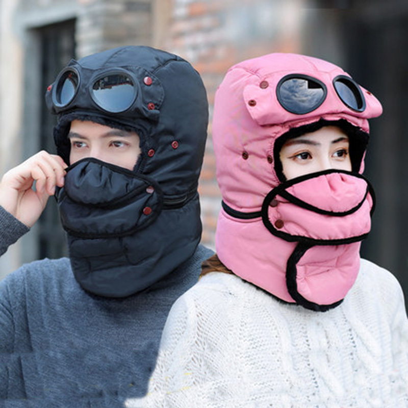 Bomber Hats Women Men Child Winter Windproof Ski Cap With Ear Flaps And Mask Pilot Goggles Warm  Hats Trooper Trapper Cap
