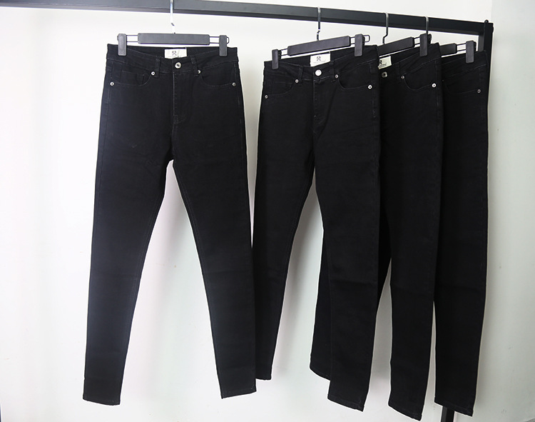 # HS High Quality Solid Black Tight Elasticity Skinny Plus Velvet Jeans Kanye West # A $ AP Rocky Fashion