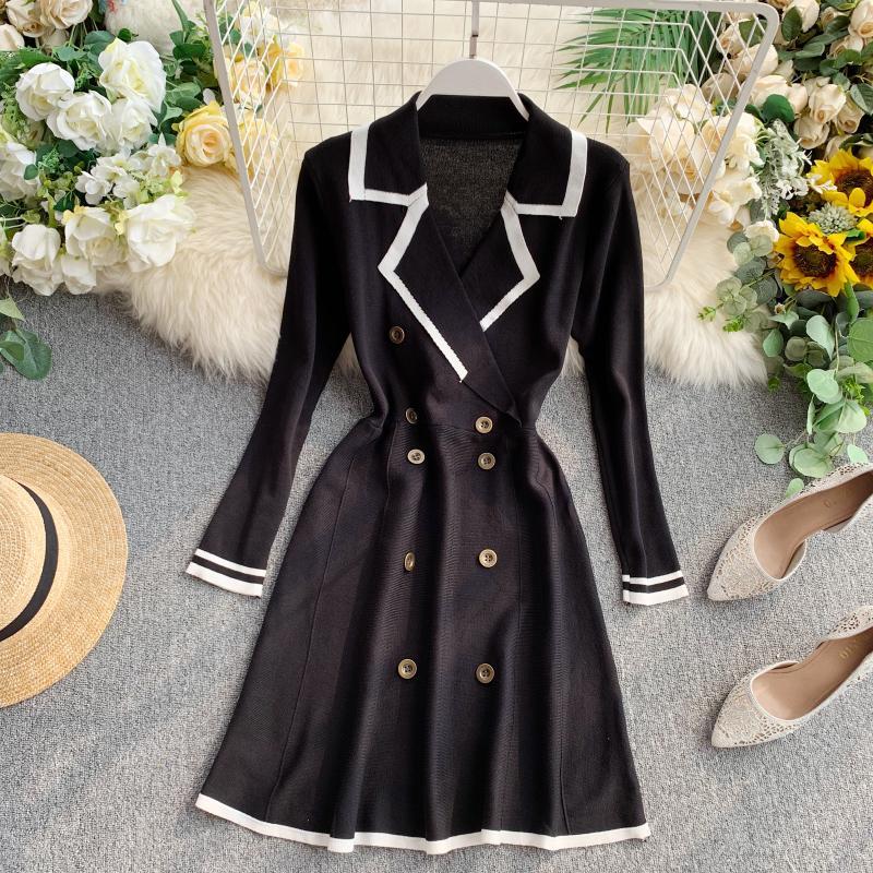 ALPHALMODA Retro Autumn Dress 2019 New Lapel Collar Long-sleeved Dress Double-row Button-down Slim OL Casual Knit Dress 36