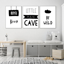 Be Wild Quotes Posters Black And White Painting Boys Room Decor Nursery Wall Art Print Nordic Wall Pictures For Kids Room black white baby animal rabbit tail canvas art print and poster nursery bunny canvas painting for kids room nordic wall decor