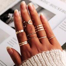 VKME Винтаж Твист золото серебро кольцо Набор Леди круглое кольцо женский костяшки модные свадебные ювелирные аксессуары