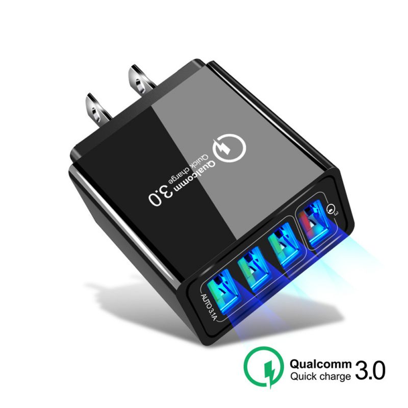ABS Shell Material <font><b>QC3.0</b></font> <font><b>4</b></font> <font><b>Port</b></font> <font><b>USB</b></font> Charger Quick Charge Wall Charger EU/US/UK Standard Power Adapter image