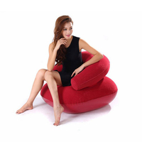 Inflating Camping Lounger Sofa Back Pillow Cushion Chair Air Bed Stool