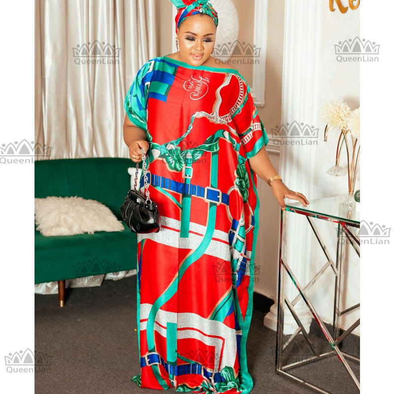 African Dashiki Traditional Party Dress with Scarf For Lady 3