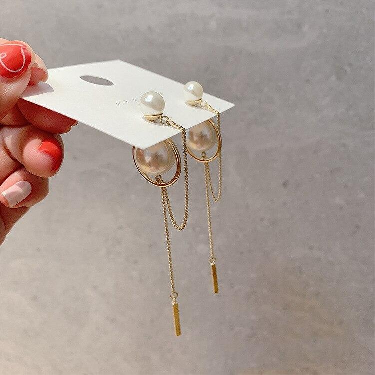 2020 New Fashion Elegant Simulated Pearl Drop Earrings For Women Metal Circle Geometric Tassel Accessories Jewelry