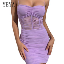 YEYA Women Summer Pleated Sexy Tight Dress Casual Spaghetti Strap Mini Bodycon Pencil Dresses Off Shoulder Short Club Wear