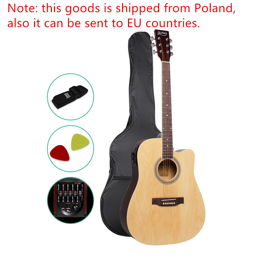 41 Inch 5 Band EQ Electric Acoustic Guitar Full Size Natural Wood Kids Musical Learning Instrument With Bag Adjustable Truss Rod