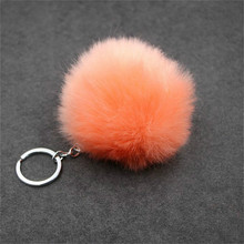 Plush Keychain Keyring Pendant Pompom Animal Woman Orange 1pcs Toy Car-Bag Artificial