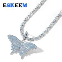 Sea Blue AAA CZ Bling Iced Out Hiphop Jewelry Shiny Butterfly Pendant Cuban Link Chain Necklace for Women