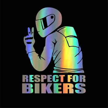 15x11CM Funny Car Stickers Respect Biker Sticker For Bikers Sticker On Car Motorcycle Vinyl 3D Stickers And Decals недорого