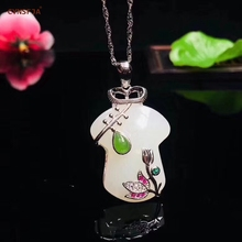 CYNSFJA Real Certified Natural Hetian Jade 925 Sterling Silver Charm Amulets  Jade Pendant High Quality Fine Jewelry Best Gifts