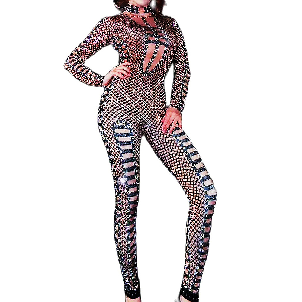 Black Net Yarn Transparent Skinny Elastic Jumpsuits Sparkly Rhinestones Women Bodysuits Birthday Party Outfit Nightclub Costumes