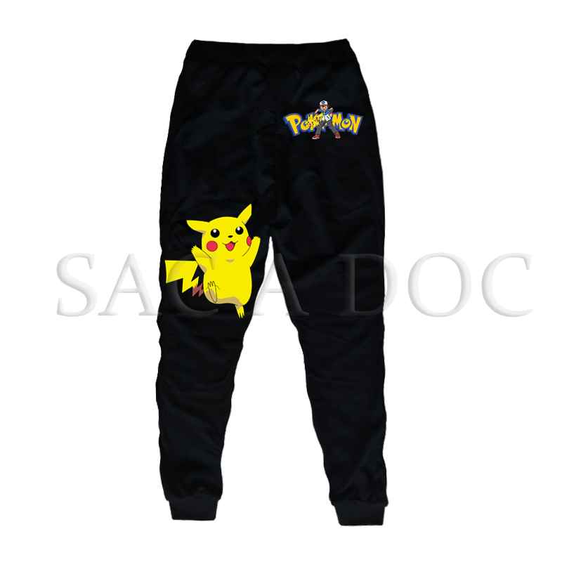 Hot Pokemon Spring Autumn Pants Cartoon Pikachu Print Baby Boys Girls Bottoms Long Pants Sports Loose Trousers Children Clothes image
