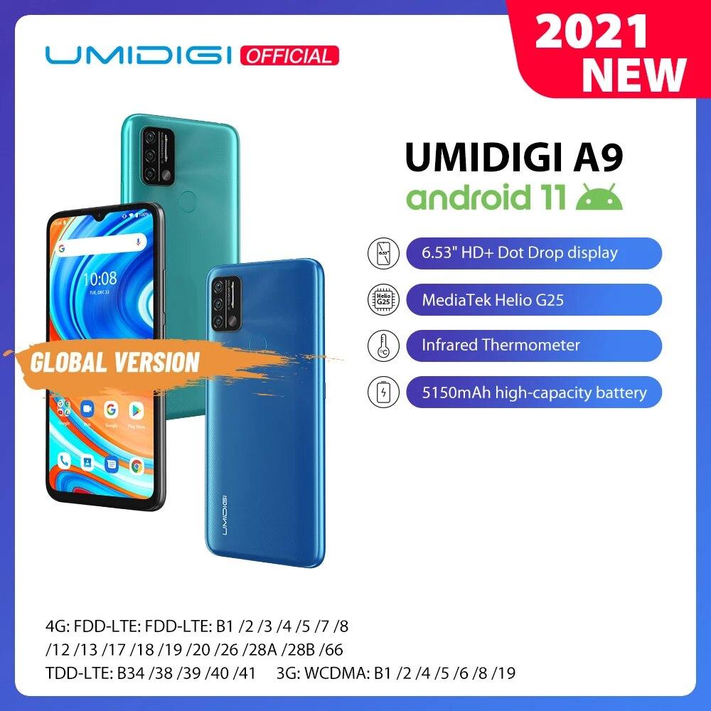 UMIDIGI – téléphone portable A9, Android 11, Version globale, Triple caméra AI 13mp, Helio G25 Octa Core, 6.53 pouces HD +, 5150mAh, en Stock