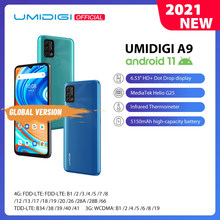 In Voorraad Umidigi A9 Smart Phone Android 11 Global Versie 13MP Ai Triple Camera Helio G25 Octa Core 6.53