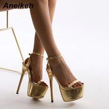 Sexy Sandals Stripper Thin-Heels Aneikeh Peep-Toe Golden-Pu Women Buckle-Strap Bling