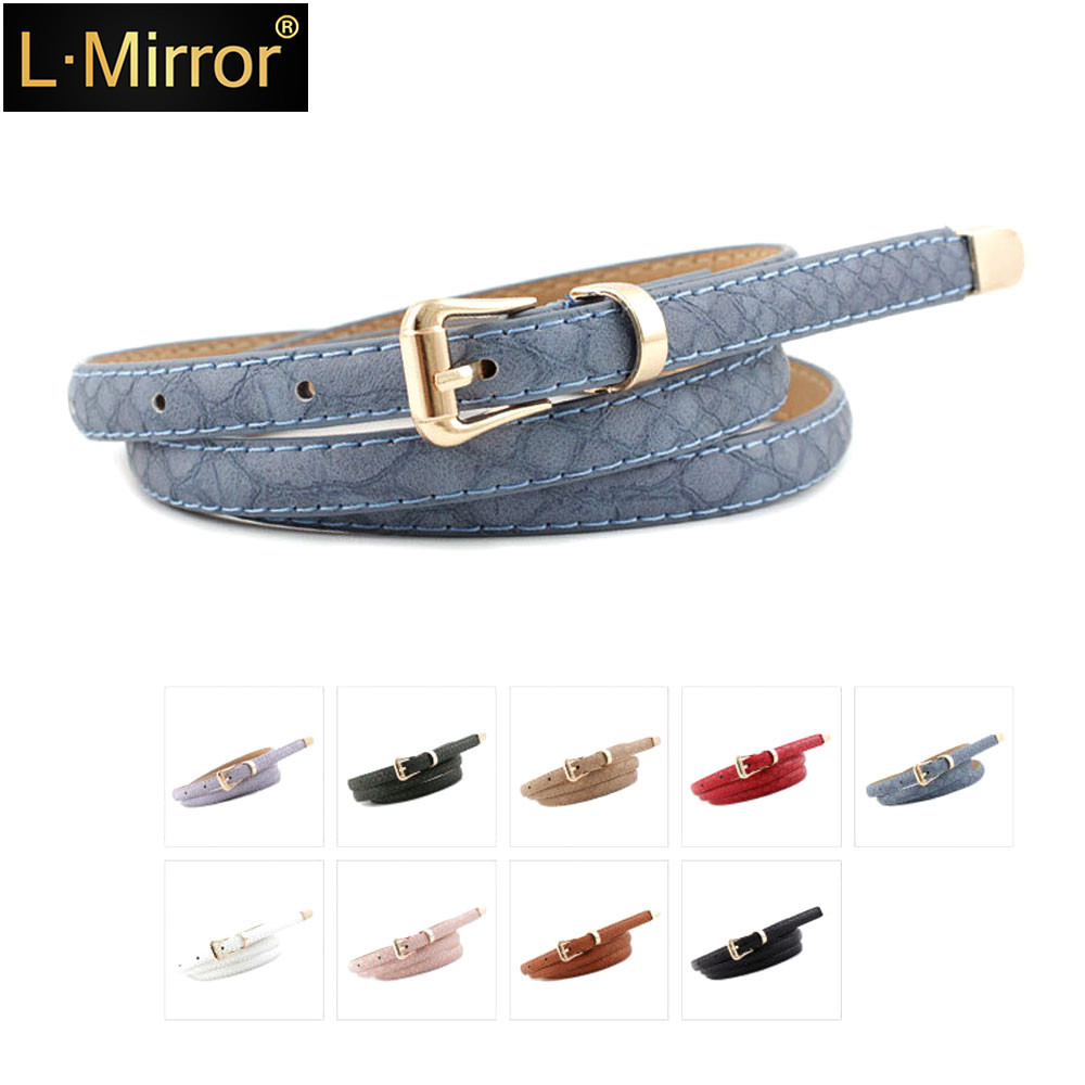 L.Mirror 1Pcs Women PU Leather Belt 105cm Length With Metal Buckles Snakeskin Style Slim   For Jeans