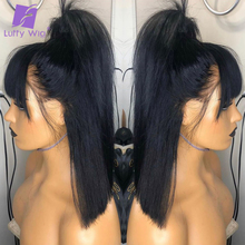 200 Density 13×6 Straight Bob Lace Front Wigs With Bangs 8-14inch Remy Short Brazilian Human Hair Frontal Wig LUFFY