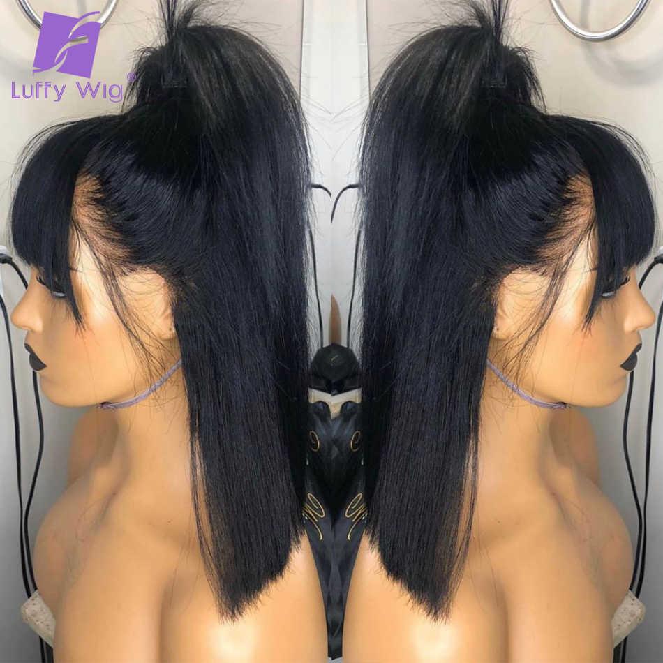 200 yoğunluk 13x6 düz Bob dantel ön peruk patlama 8-14 inç Remy kısa brezilyalı İnsan saç ön peruk LUFFY