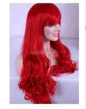 zhaoxia++0726@Q8@* +++Two Style Bangs 70cm Synthetic Hair Women Lady Long Red Wavy Cosplay Party Wig(China)