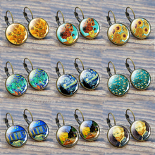 Van Gogh Earring Fashion France Stud Earrings Glass Cabochon Jewelry Starry Night Sunflower Ear Hook Women Girl Lover Gift