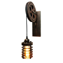 Industry wind vintage E27 lifting pulley wall lamp CE loft light bedroom bedside aisle corridor restaurant cafe light sconce bra(China)
