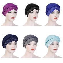 Muzułmanki warkocz czepek dla osób po chemioterapii indie Turban Rhinestone chustka arabska czapka Bonnet islamski nakrycia głowy utrata włosów okładka szalik Wrap