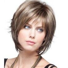 Короткий парик для Для женщин прямые Цвет смешивания волос Косплэй вечерние повседневные Применение парик Синтетический термостойкий пар...