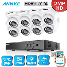 ANNKE 8CH 1080P Home Video Security System H.264+ 5in1 1080N DVR With 4X 8X Smart IR Dome Outdoor Weatherproof Cameras CCTV Kit