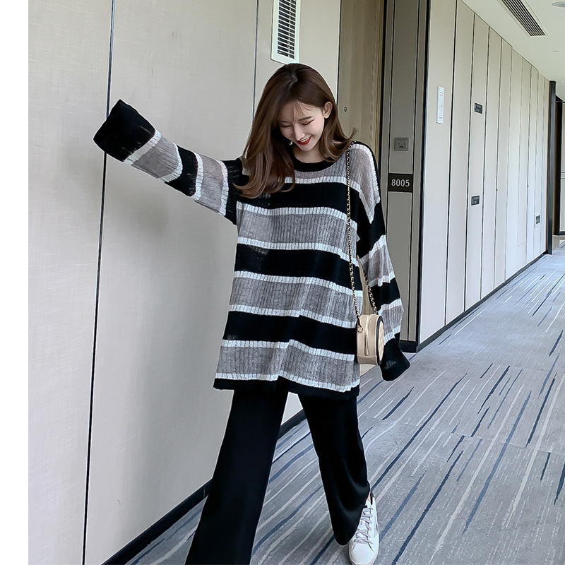 Network Red Sweater Women's 2019 Early Autumn New Style Laziness-Style Loose-Fit Stripes Sweater Thin Hoodie With Sleeves F7681