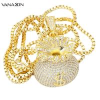 VANAXIN Money Bags US Dollors Charms Pendants&Necklaces For Men Women Hip Hop Fashion Jewelry Zircons Full Paved Shiny Jewels