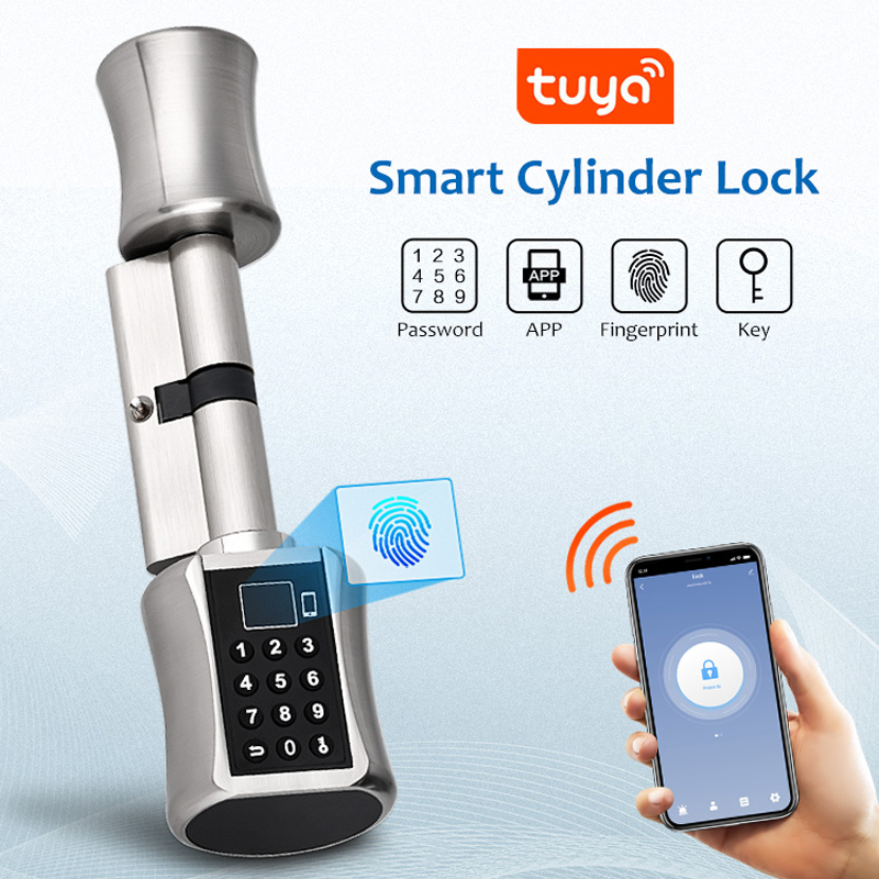Bluetooth Tuya APP Biometric Fingerprint Cylinder Lock Electronic Smart Door Lock Digital...
