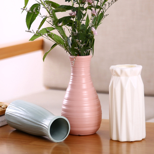 Plastic Flower Vase Decoration Home White Vases Imitation Ceramic Vase Flower Pot Decoration Nordic Style Flower Basket 2