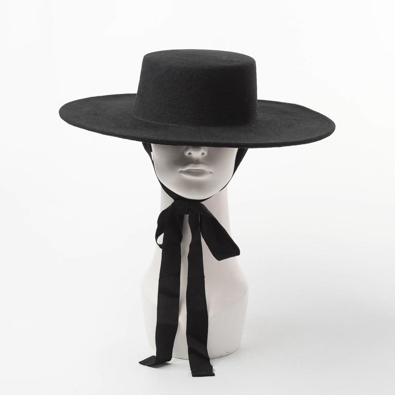 High Quality Autumn Winter Fedora Hat Woman Oversized Hat Fashion Big Women Wool Hat Flat Top Ladies Wide Brim Hat For Winter