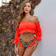 Vigorashely Ruffle Swimwear Women 2020 Bandeau Sexy Bikini Set Two Piece Swimsuit Female Neno Leopard Biquinis Bathing Suit Swim